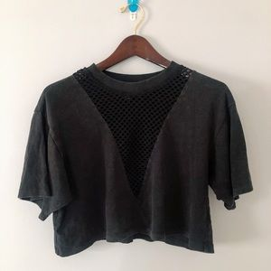 Forever 21   Black Netted Crop Top